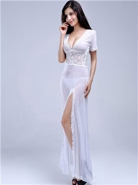 Pure White Lace Open V Front And Back Nightgown
