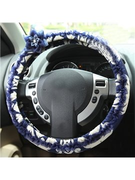 Stylish Blue and White Color Style Ultra Comfortable Fashion Steering Wheel Cover