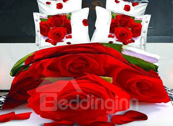 Romantic Red Roses Print 4-Piece Cotton Duvet Cover Sets 11237576