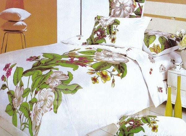 Elegant Flower Oil Painting 4-Piece Cotton Duvet Cover Sets