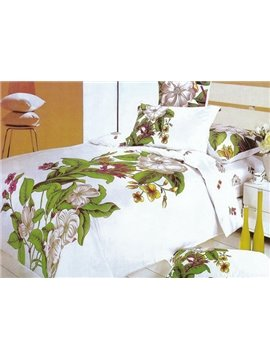 Elegant Flower Oil Painting 4-Piece Cotton Duvet Cover Sets