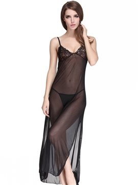 Sexy Sheer Fabric Hit Ankle Long Chemise