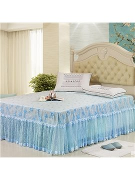 Fresh and Cool Sky Blue China Rose Lace Border Soft and Comfortable Bed Skirt