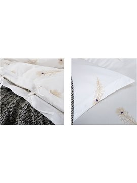 Phoenix Feather with White Background 4-Piece 100% Cotton Duvet Cover Sets