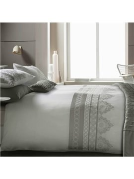 Noble Flower Embroidery 4-Piece 100% Cotton Duvet Cover Sets