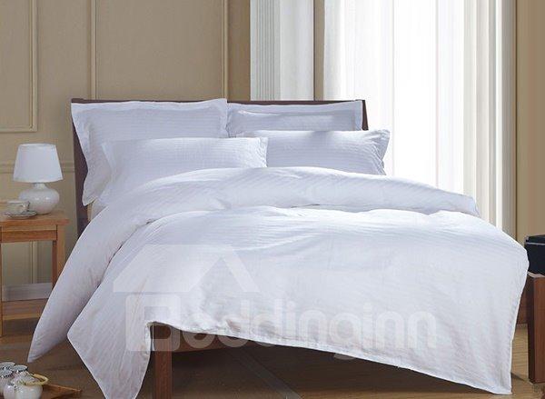 Comfortable Pure White 4-Piece 100% Cotton Duvet Cover Sets