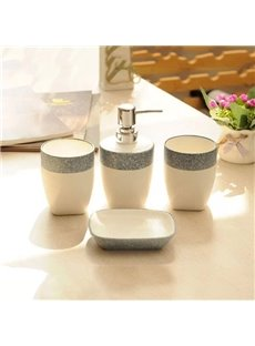 Contemporary Concise White Ceramic 4-piece Bath Accessories