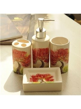 Fabulous Tree Print Ceramic 4-piece Bath Accessories