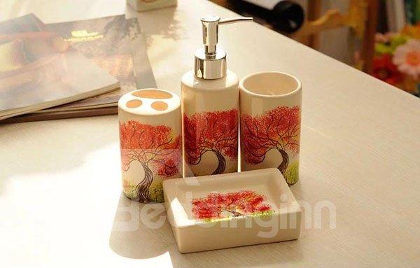 Fabulous Tree Print Ceramic 4-piece Bath Accessories