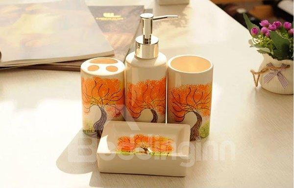 Attractive Graceful Maple Ceramic 4-piece Bath Accessories