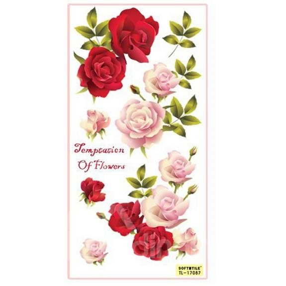 Fantastic Beautiful Removable Relief Effect Rose Wall Stickers
