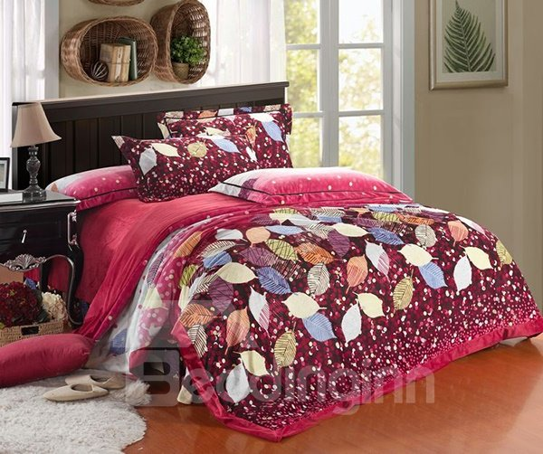 Colorful Leaves and Polka Dot Print 4-Piece Coral Fleece Duvet Cover Sets