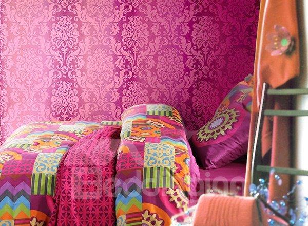 Beautiful Vintage Pattern 4-Piece 100% Cotton Duvet Cover Sets