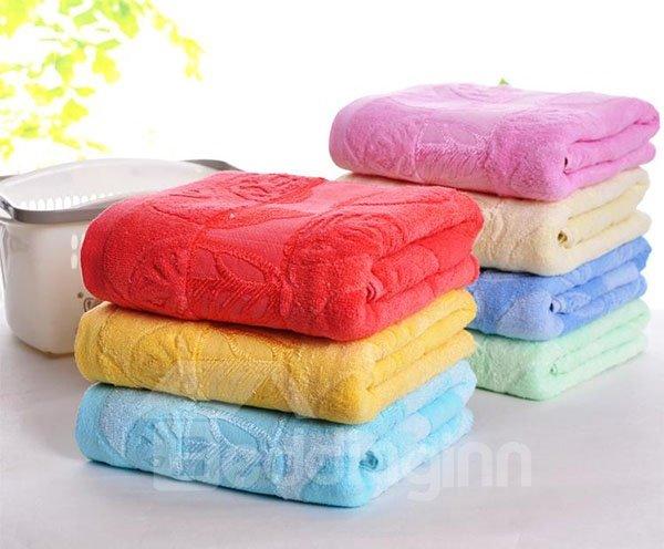 Thick Super Cozy Leaves Cotton Bath Towel