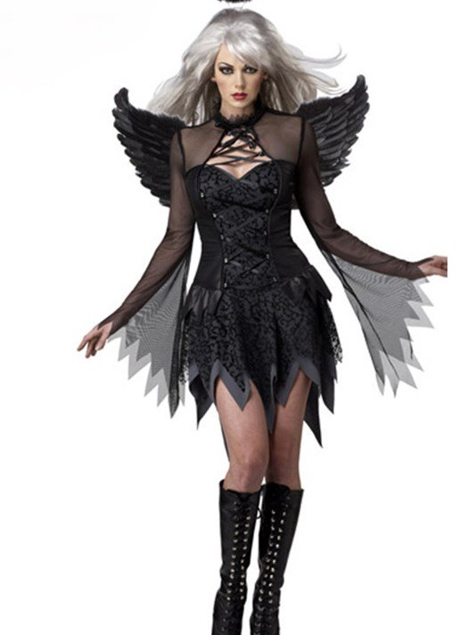 Vivid Sheer Sleeves Black Angel With Wings Costume