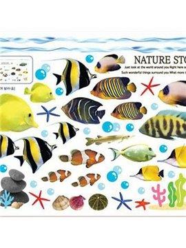 Wonderful Pretty Goldfish Underwater World Wall Stickers