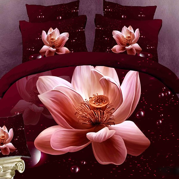 Blooming Lotus Print 4-Piece Cotton Duvet Cover Sets