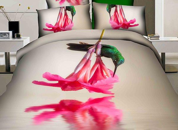 Green Hummingbird and  Flower Print 4-Piece Cotton Duvet Cover Sets