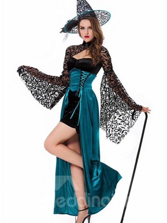 Tight Bust Bat Sleeves Blue Long Dress