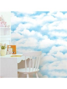 Blue Sky and White Clouds Wall Sticker for Children's Room