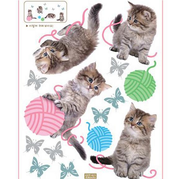 Super Cute Cats Playing with Woolballs Wall Stickers for Kids