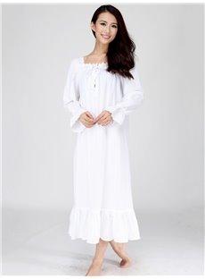 High Quality Doll Bust Ruffle Hem Long Sleeves Nightgown