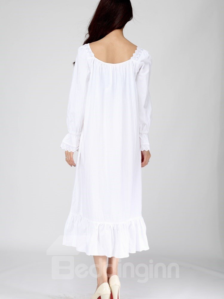 High Quality Doll Bust Ruffle Hem Long Sleeves Nightgown