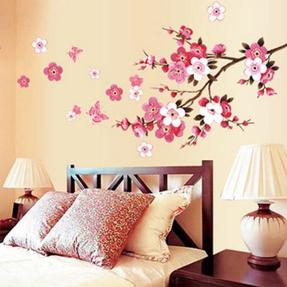 Beautiful Romantic Peach Home Decorative Wall Stickers
