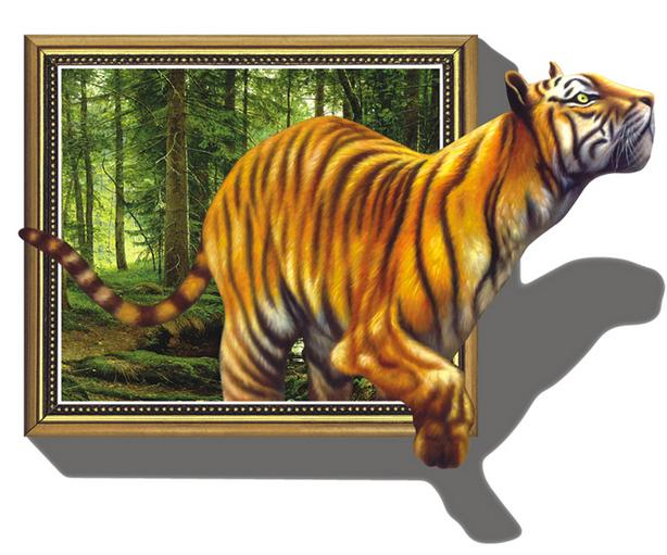 Vivid Decorative Tiger Pattern Removable 3D Wall Sticker