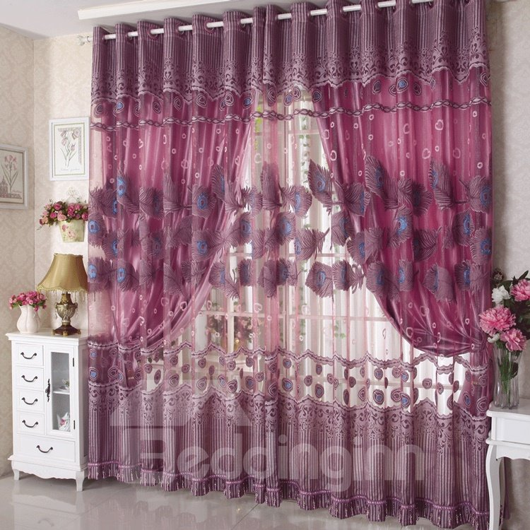 Romantic Flying Purple Peacock Feather Printing Custom Sheer Curtain