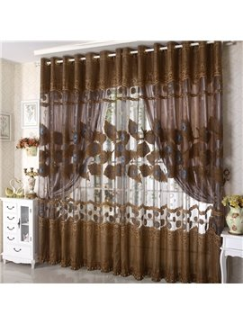 Coffee Color Decorative Lace Border Custom Sheer Curtain