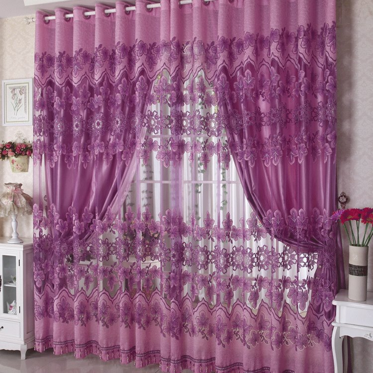 Purple Color Phoenix Pattern Custom Sheer Curtain
