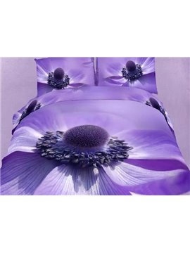 Wonderful Big Purple Flower Print 4-Piece Cotton Duvet Cover Sets