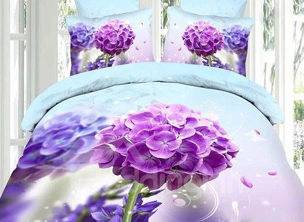 Delicate Purple Hydrangea Print 4-Piece Cotton Duvet Cover Sets