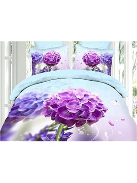 Delicate Purple Hydrangea Print 4-Piece Cotton Duvet Cover Sets