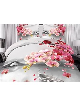 Romantic Wild River and Flower Print 4-Piece Cotton Duvet Cover Sets