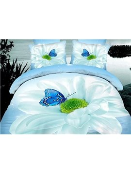 Delightful Flower and Blue Butterfly Print 4-Piece Cotton Duvet Cover Sets