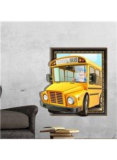 Best Quality Lovely School Bus 3D Wall Sticker