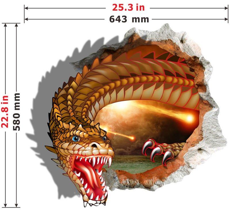 Creative Design Cartoon Magic Dragon 3D Wall Sticker