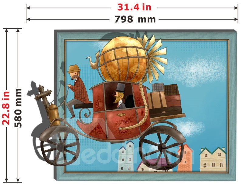Amazing Popular Retro Carriage 3D Wall Sticker