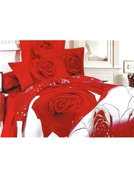 Noble Red Rose Print 4-Piece Cotton Duvet Cover Sets