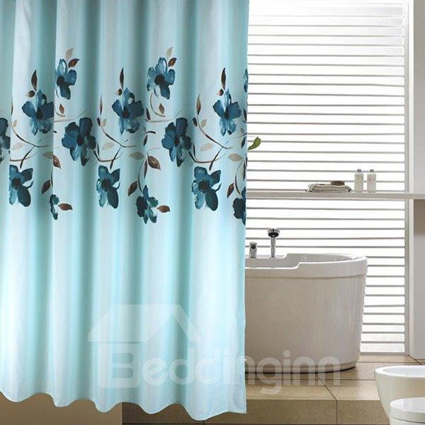 Fnacy Graceful Orchid Jacquard Blue Shower Curtain