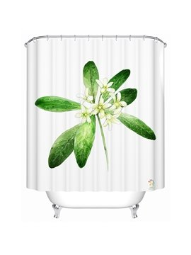 Elegant Blooming Fragrant Jasmine Polyester Shower Curtain
