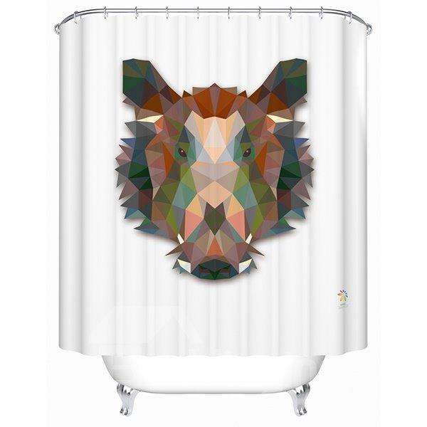 Amazing 3D Prismatic Wild Boar Shower Curtain