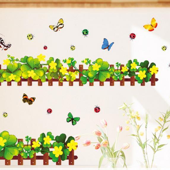 Wonderful Ladybug Clover Skirting Line Wall Stickers