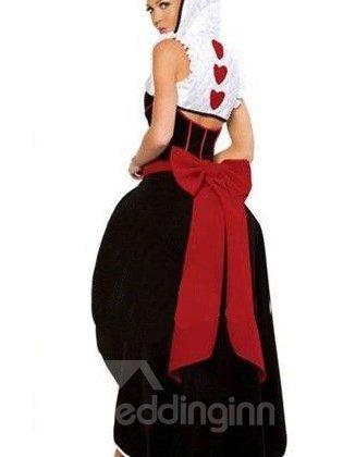 Beautiful Queen Of Heart Big BowKnot Back Waist Costume