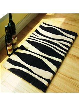 Stylish Gorgeous Black White Stripe Comfy Bath Rug