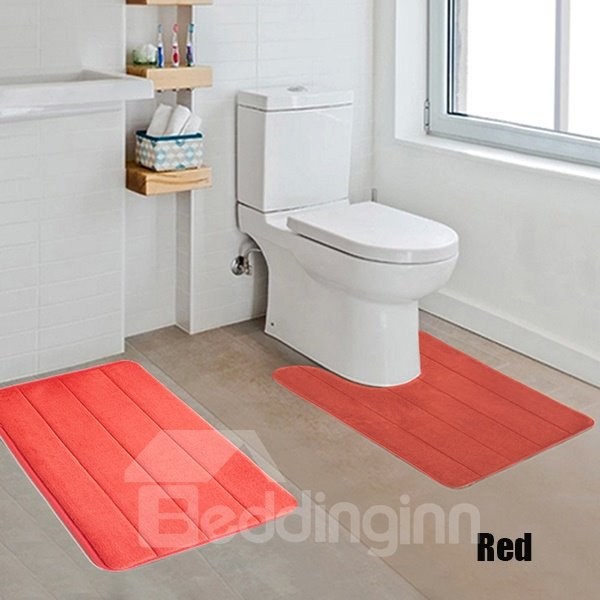 High Quality Comfy 2-piece Solid Color Bath Rug