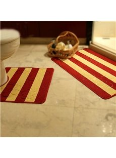 Hot Selling Comfy 2-piece Stripe Jacquard Bath Rug