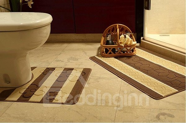 Hot Selling Comfy 2-piece Stripe Jacquard Bath Rug